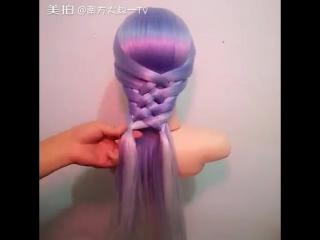 Красивое плетение косы на резинках