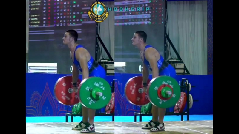 2017 Youth World champion Anatoliy Savelyev (62kg, 17y/o) clean and jerking 147kg and 152kg/335lb to win gold at the 2017 Asian