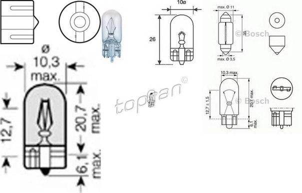 Лампа накаливания, стояночные огни / габаритные фонари для AUDI ALLROAD (4BH, C5)