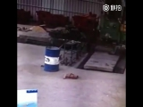 Chinese Worker Spun Around by Machine