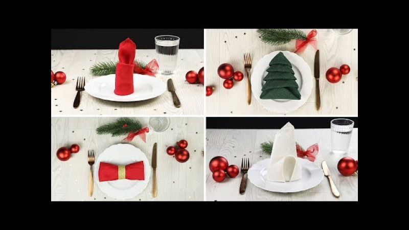 Make your dining extra festive with Christmas-themed napkin folding