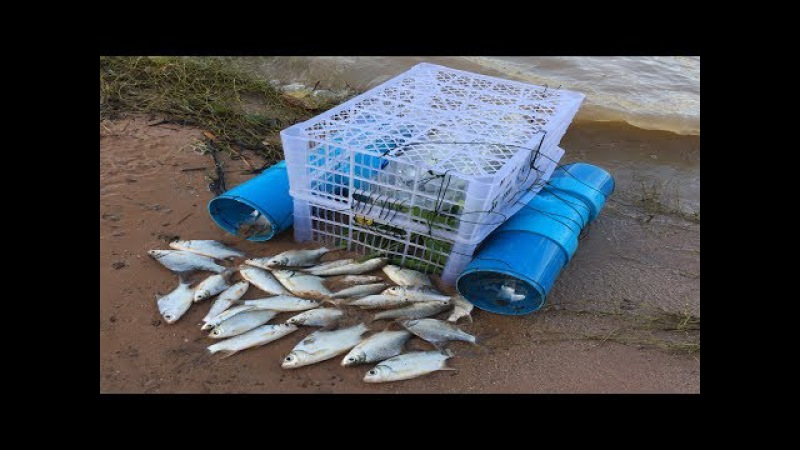 Amazing Clever Man Make Four Holes Fish Trap With Plastic Pipes To Catch A Lot Of Fish In River