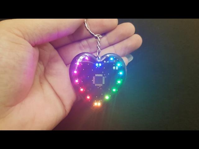 Assembling Keychains Led Heart RGB Led