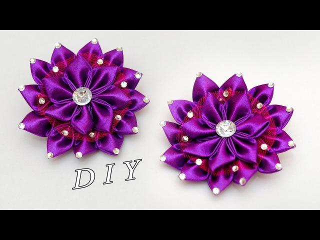 ЦВЕТОК КАНЗАШИ МК DIY Kanzashi flower Djuce Julia
