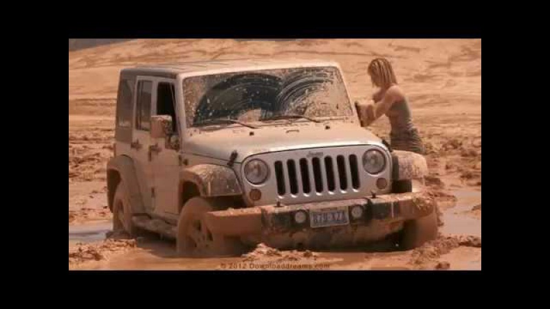Sexy girl fall in mud with her jeep