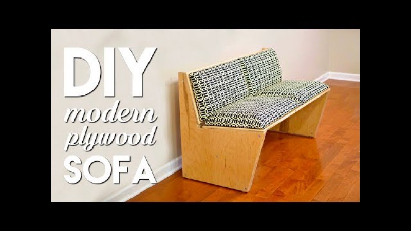 DIY Modern Sofa | How To Build With 1 Sheet of Plywood - Woodworking