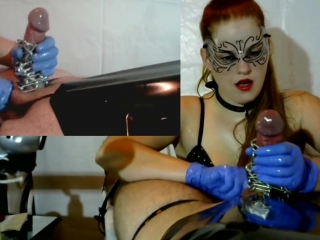 Femdom Cock Tease , Cock Massage - Latex Gloves, Chain, PVC, Brush