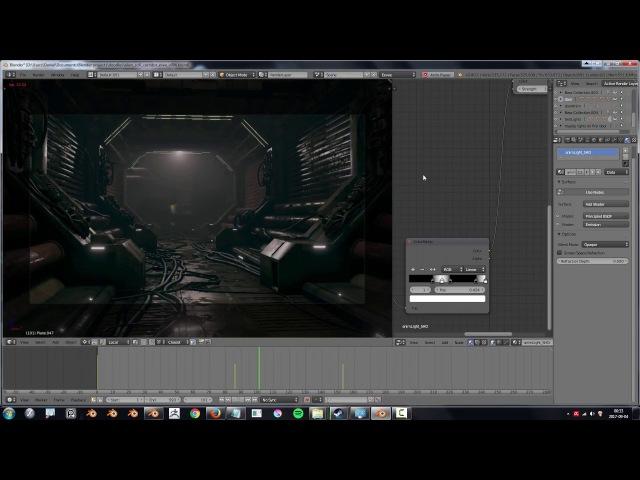 Blender 2.8 eevee viewport - sci fi corridor demo