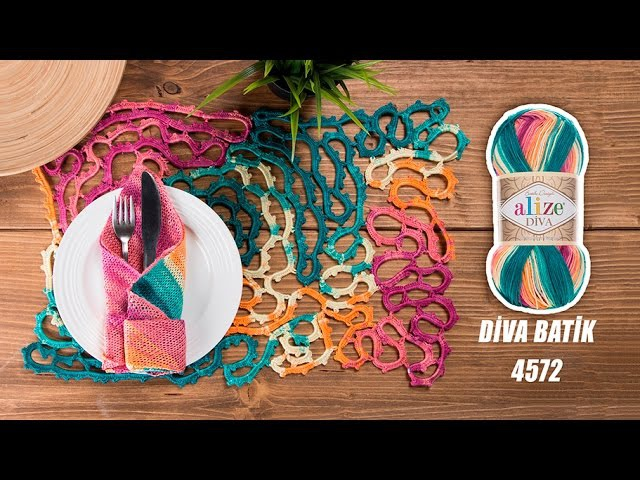 Alize Diva Batik ile Supla Yapımı Making Service Plates with Alize Diva Batik