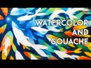 Watercolor and Gouache Negative Painting Process Rainbow Trout