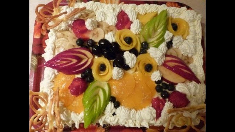 Торт Тропиканка. Cake Tropic. Как украсить торт фруктами.