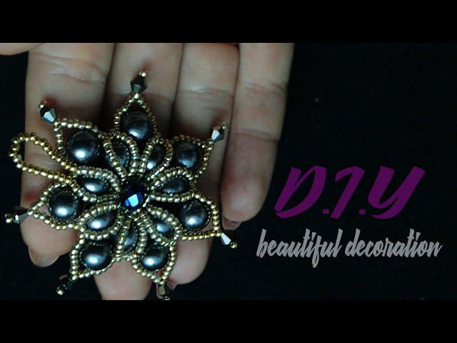 Кулон из бисера и бусин.DIY. Making pendant of beads and beads.