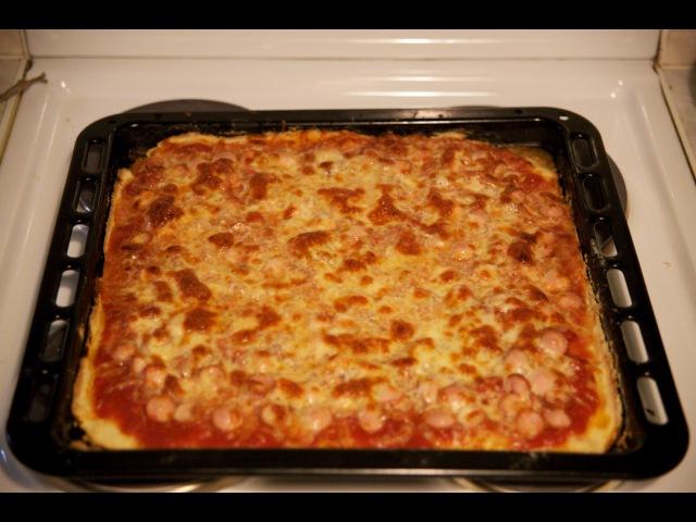 Пицца домашняя на противне, видео рецепт как приготовить пиццу быстро