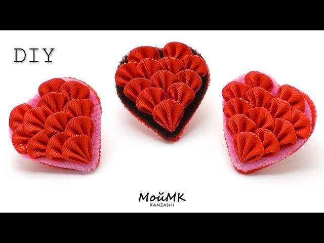 РЕЗИНКИ ВАЛЕНТИНКИ ИЗ РЕПСА КАНЗАШИ МК / DIY VALENTINES DAY KANZASHI TUTORIAL (SIMPLE WAY)