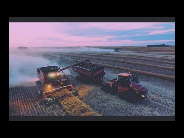 Incredible Sunset Over Seeding and Harvest 2017 in Saskatchewan