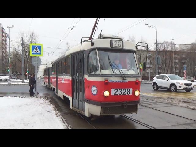 Сдвоенный трамвай Tatra t3 (МТТА-2) (СМЕ) №2328 №2327 в бело-красной окраске!