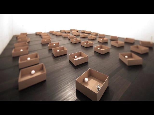 [ Zimoun - 45 prepared DC motors, cotton balls, cardboard boxes 23 x 23 x 9 cm, 2011 ]