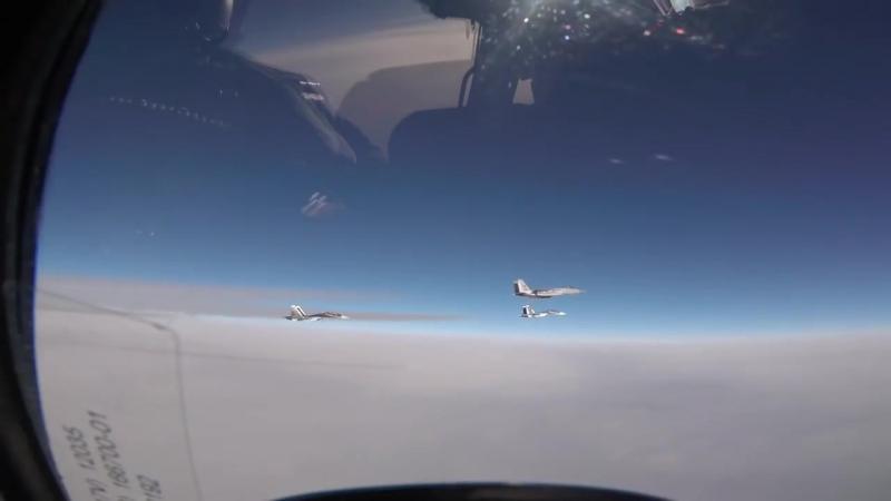 493rd Fighter Squadron F-15Cs intercept Russian Navy Su-30s