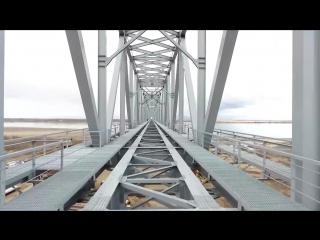 Мегамост на границе между Китаем и Россией с высоты полета дрона