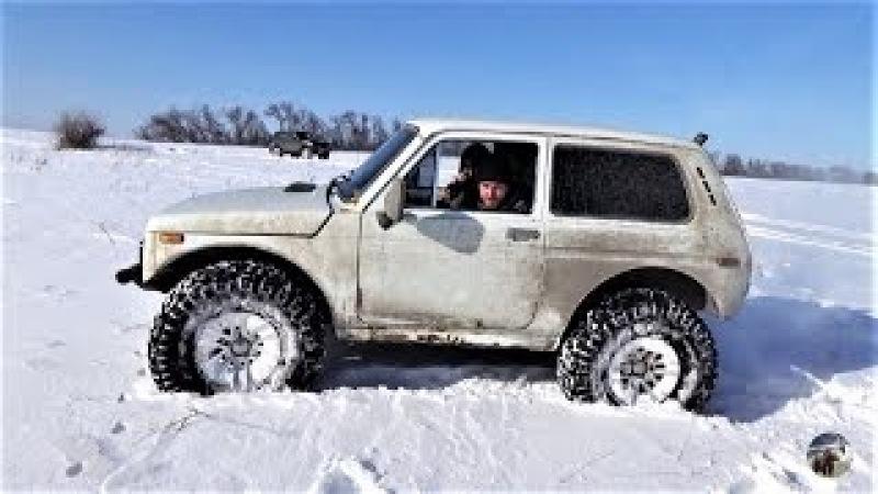 Нива на 35-х колёсах уделывает всех в снежной целине. УАЗ, Шеви Нива Great Wall.