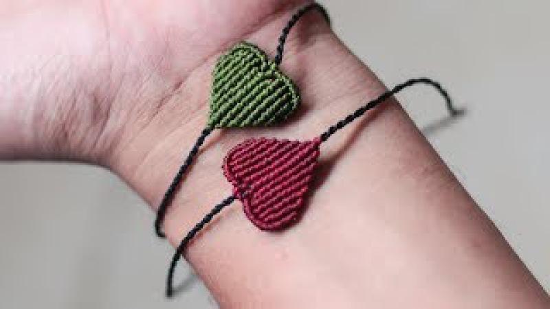 Pulsera de hilo en forma de corazon para san valentin   macrame bracelet heart