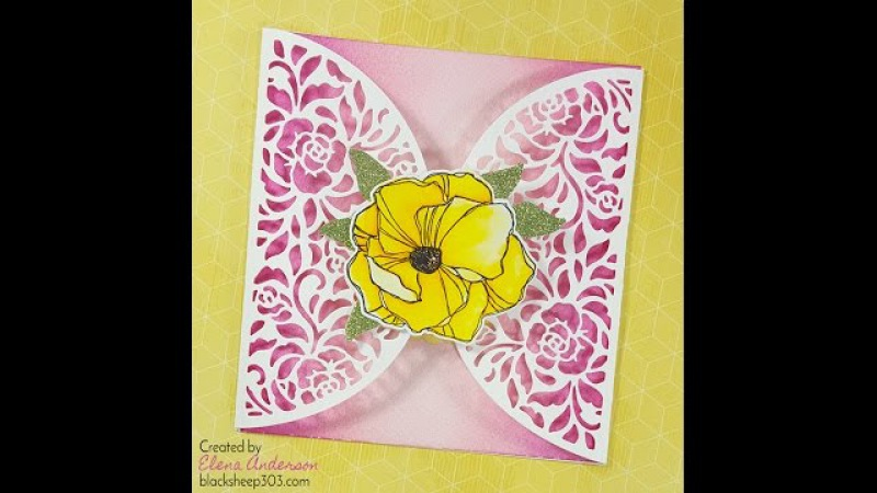 Ombre Gatefold Card with Elizabeth Craft Designs, Distress Inks Zig Clean Color Real Brush Markers