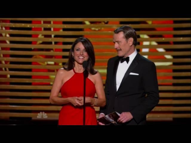 Bryan Cranston plants a passionate kiss on Julia Louis-Dreyfus at Emmy awards