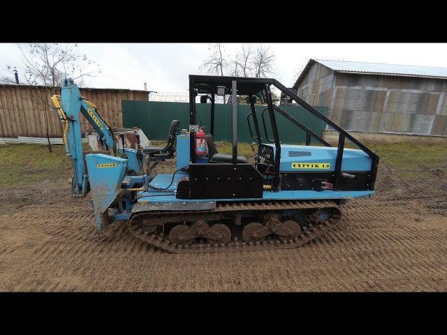 Самодельный мини-трактор. Тест трактора с навешенным самодельным экскаватором.