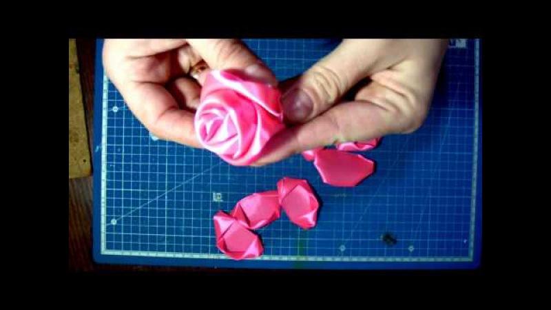 Роза из атласной ленты, мастер-класс DIY.
