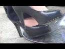 Candid black heels and nylon feet Asian girl