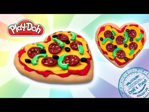 Dolls Food . How to Make Playdoh Pizza. Play Doh for Kids and Beginners. DIY Toy Food for Dolls