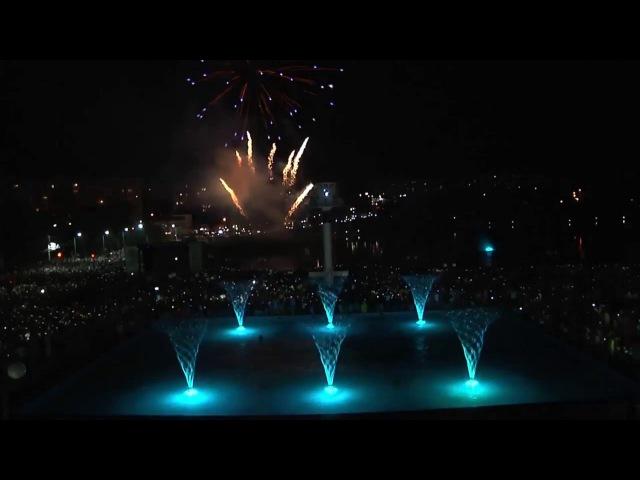 Пиромузыкальное шоу на открытие комплекса фонтанов Перлина кохання в Умани
