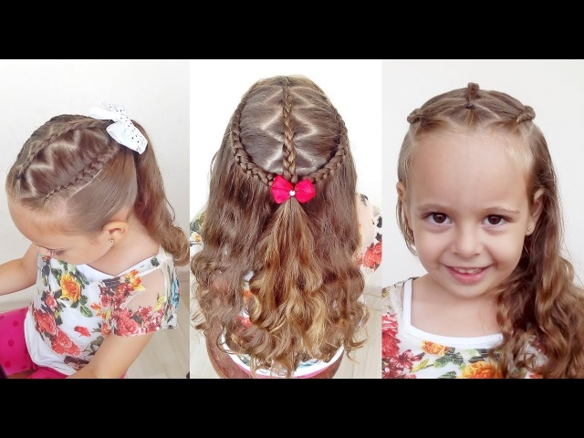 Penteado Infantil arco trançado em zig zag para cabelo meio preso ou com amarração