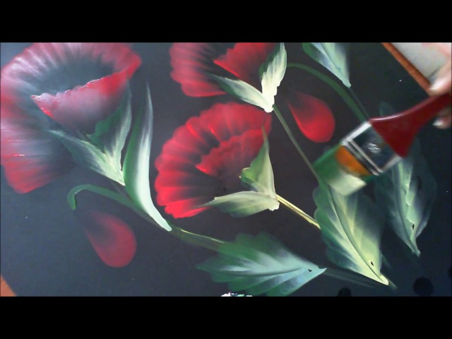 Acrylic Painting- One Stroke Technique Floral with size 50 brush