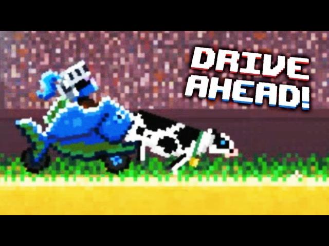 ПЫТАЮСЬ СЪЕСТЬ КОРОВУ! Безумные гонки в игре Drive Ahead Мульт игра для детей ЗАДАНИЯ ...