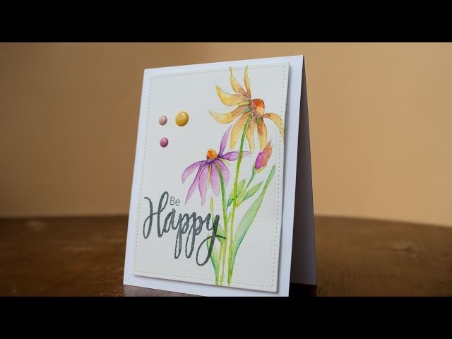 Easy hand drawn cone flower and watercolor tutorial