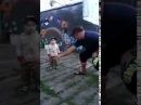 Дёник с папой танцуют. Dedik and dad are dancing.