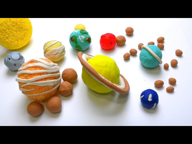 DIY How to make Play Doh Solar System Planets its Moons How many Moons in universe Kids Play dough