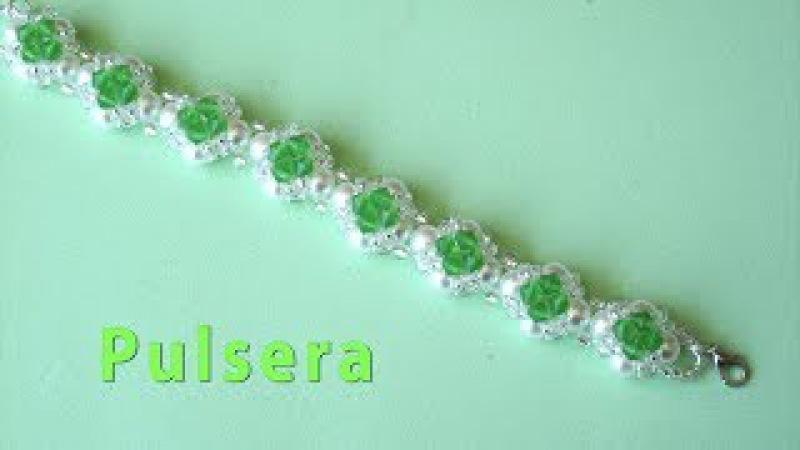 DIY - Pulsera fácil de perlas, tupis y mostacillas Easy bracelet with pearls