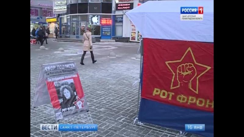 Вести - Санкт-Петербург. Пикет сбора подписей в поддержку кандидата РОТ ФРОНТа