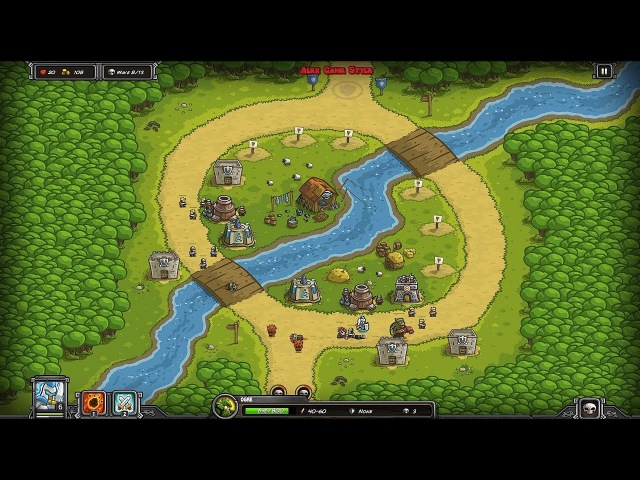 Kingdom Rush HD (Level 4 Twin Rivers) Campaign || Hero - Sir. Gerald Lightseeker only 3 StarS