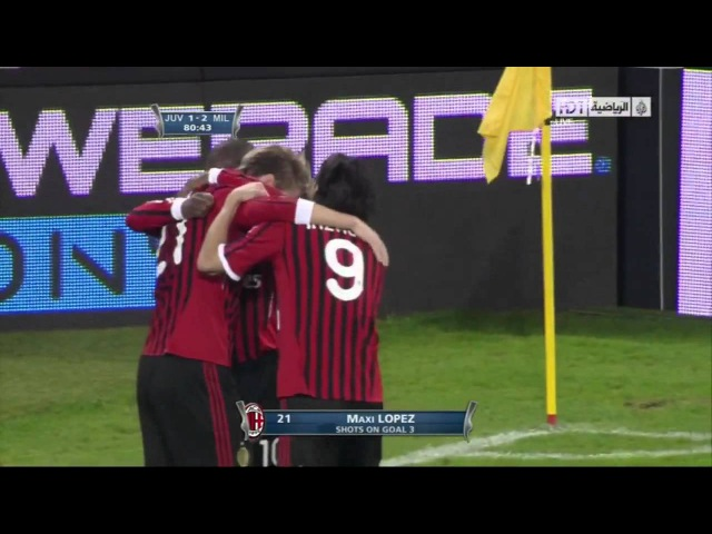 Maxi Lopez Great Goal AC Milan vs Juventus Coppa Italia 2012 03 20