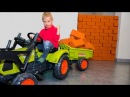 BABY ЗАСТРОИЛ стену в доме Unboxing And Assembling The POWER Wheel Ride on Tractor Buldozer