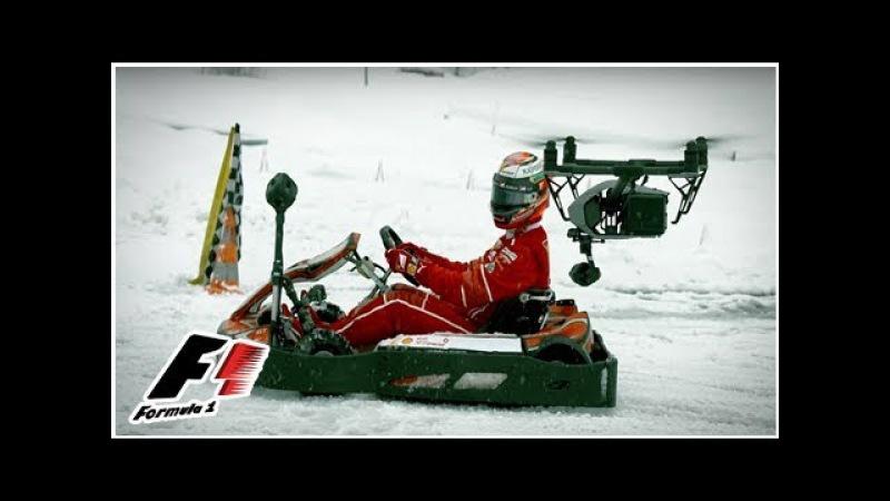 Ferrari's Kimi Raikkonen Goes Ice Karting in the Swiss Alps