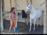 Denise Masino and Horse Dancing Practice women bodybuilder