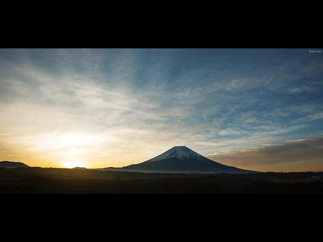 Clouds wash over Mount Fuji, Japan