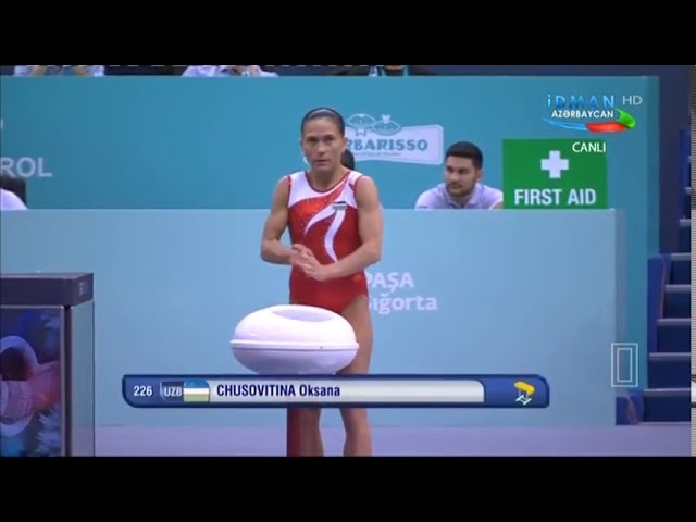 Oksana Chusovitina (UZB) VT Qual 2018 Baku Gymnastics World Cup
