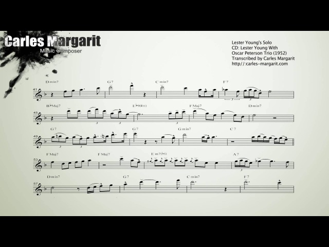 There Will Never Be Another You Lester Youngs (Bb) Transcription. Transcribed by Carles Margarit