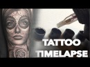 TATTOO TIMELAPSE DAY OF THE DEAD AND ROSE CHRISSY LEE TUTORIAL HOW TO