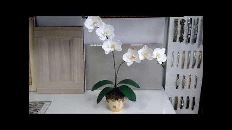 Орхидея из фоамирана в горшке.